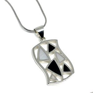 """Sterling Silver Geometric Necklace & Pendant 16"""""""